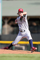 Lehigh Valley Ironpigs relief pitcher Michael Stutes #33 delivers a pitch during the second game of a double header against the Rochester Red Wings at Frontier Field on April 14, 2011 in Rochester, New York.  Lehigh Valley defeated Rochester 5-3 in extra innings.  Photo By Mike Janes/Four Seam Images
