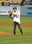 LOS ANGELES, CA. - September 02: Pete Wentz throwing the ceremonial first pitch at Dodger Stadium in Los Angeles, California on September 2, 2009.