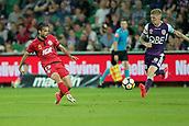 November 4th 2017, nib Stadium, Perth, Australia; A-League football, Perth Glory versus Adelaide United; Nikola Mileusnic from Adelaide United passes the ball under pressure from Andy Keogh of the Perth Glory