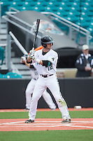 David Parrett (12) of the Coastal Carolina Chanticleers at bat against the Bryant Bulldogs at Springs Brooks Stadium on March 13, 2015 in Charlotte, North Carolina.  The Chanticleers defeated the Bulldogs 7-2.  (Brian Westerholt/Four Seam Images)