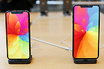 (L to R) Samples of the new iPhone XS and iPhone XS Max on display at the Apple Store in Omotesando on September 21, 2018, Tokyo, Japan. Apple fans lined up patiently in the early morning rain to get the new iPhone models (XS and XS Max) and the new iWatch (Series 4). The new iPhone XS costs JPY 112,800 for the 64 GB model, the iPhone XS Max costs JPY 124,800 JPY for the 64 GB model, and iWatch Series 4 costs JPY 45,800. (Photo by Rodrigo Reyes Marin/AFLO)