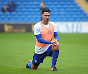 30th September 2017, Cardiff City Stadium, Cardiff, Wales; EFL Championship football, Cardiff City versus Derby County; Sean Morrison (C) of Cardiff City stretching before the game