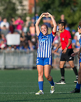 Allston, MA - Saturday August 19, 2017: Amanda DaCosta during a regular season National Women's Soccer League (NWSL) match between the Boston Breakers (blue) and the Orlando Pride (white/light blue) at Jordan Field.Goal celebration.