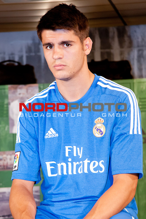 Presentation of the second Real Madrid Kit for the season 2013-2014. July 25, 2013. Foto &not;&copy; nph / Adrian P. Rincon)<br /> &sbquo;ą&ouml;&radic;&Ouml;lvaro Morata *** Local Caption ***