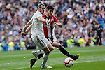 Real Madrid's Gareth Bale and Athletic Club de Bilbao's Yuri Berchiche during La Liga match between Real Madrid and Athletic Club de Bilbao at Santiago Bernabeu Stadium in Madrid, Spain. April 21, 2019. (ALTERPHOTOS/A. Perez Meca)