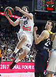 Real Madrid's Sergio Llull (l) and Fenerbahce Istambul's Jan Vesely during Euroleague, Regular Season, Round 29 match. March 31, 2017. (ALTERPHOTOS/Acero)