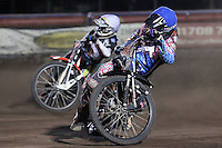 Heat 9: Stuart Robson (blue) and Krzysztof Buczkowski - Lakeside Hammers vs Peterborough Panthers - Sky Sports Elite League Speedway at Arena Essex Raceway, Purfleet - 14/09/12 - MANDATORY CREDIT: Gavin Ellis/TGSPHOTO - Self billing applies where appropriate - 0845 094 6026 - contact@tgsphoto.co.uk - NO UNPAID USE.
