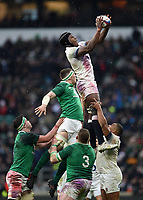 Maro Itoje of England wins the ball at a lineout. Natwest 6 Nations match between England and Ireland on March 17, 2018 at Twickenham Stadium in London, England. Photo by: Patrick Khachfe / Onside Images