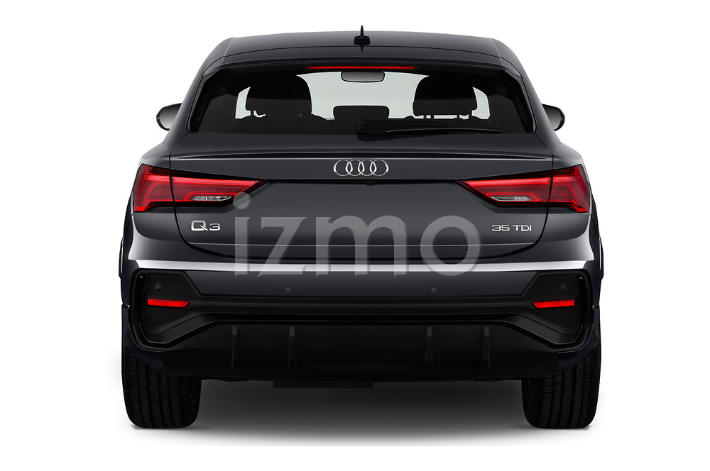 Straight rear view of 2020 Audi Q3-Sportsback S-Line 5 Door SUV Rear View  stock images