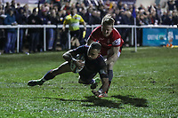 Craig Holland of London Scottish scores a try during the Greene King IPA Championship match between London Scottish Football Club and Jersey Reds at Richmond Athletic Ground, Richmond, United Kingdom on 16 March 2018. Photo by David Horn.