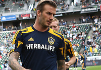 CARSON, CA - DECEMBER 01, 2012:   David Beckham (23) of the Los Angeles Galaxy warms up before the 2012 MLS Cup at the Home Depot Center, in Carson, California on December 01, 2012. The Galaxy won 3-1.
