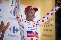 Joaquim Rodriguez (ESP/Katusha) takes the polka dot jersey after winning stage 3<br /> <br /> stage 3: Antwerpen (BEL) - Huy (BEL)<br /> 2015 Tour de France