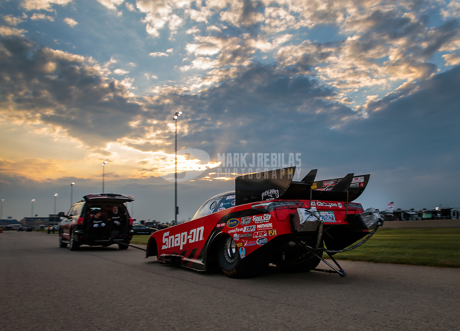 Jun 2, 2018; Joliet, IL, USA; NHRA funny car driver Cruz Pedregon during qualifying for the Route 66 Nationals at Route 66 Raceway. Mandatory Credit: Mark J. Rebilas-USA TODAY Sports