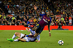 Raul Rodriguez Navas of Real Sociedad (L) trips up with Ousmane Dembele of FC Barcelona (R) during the La Liga match between Barcelona and Real Sociedad at Camp Nou on May 20, 2018 in Barcelona, Spain. Photo by Vicens Gimenez / Power Sport Images