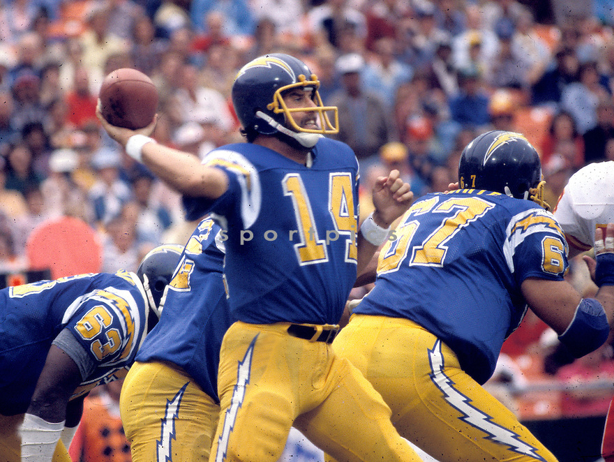 San Diego Chargers, Dan Fouts(14) in actions during a game against the Kansas City Chiefs on November  16, 1980 at Jack Murphy Stadium in San Diego, California. The Chargers beat the Chiefs 20-7.