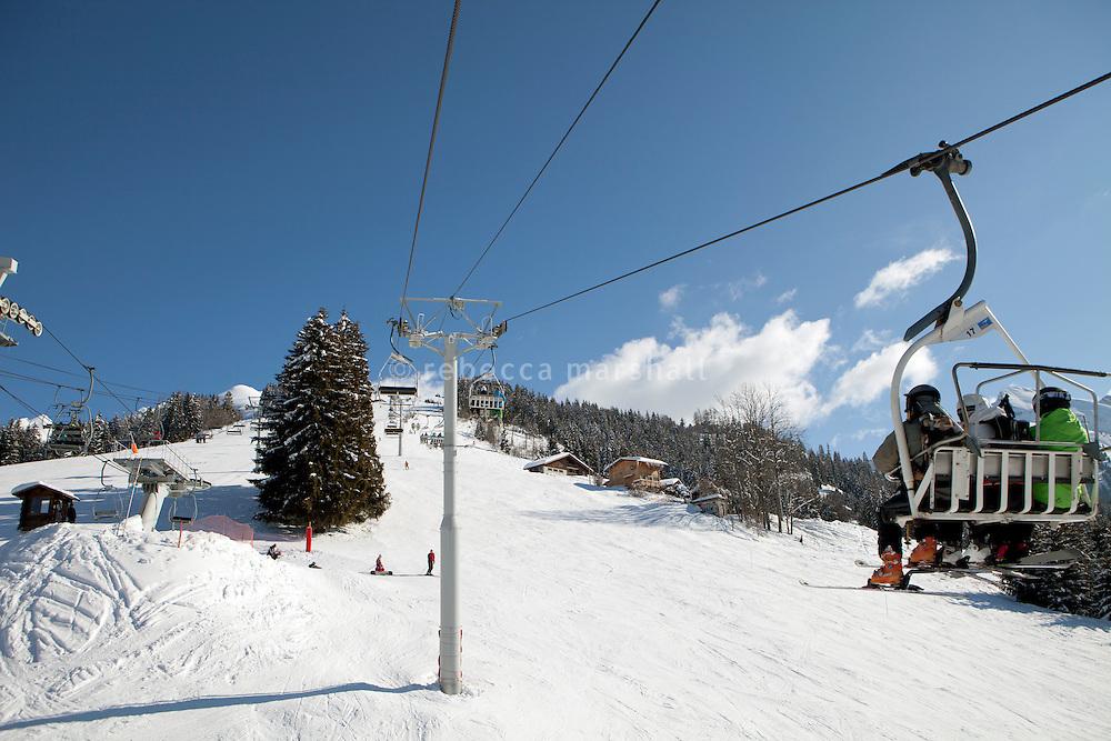 Ski lift above La Clusaz, France, 14 February 2012.