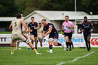 Joe Atkinson of London Scottish scores a try during the Greene King IPA Championship match between London Scottish Football Club and Doncaster Knights at Richmond Athletic Ground, Richmond, United Kingdom on 30 September 2017. Photo by Jason Brown / PRiME Media Images.