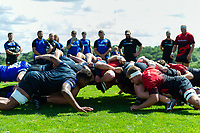The Bath Rugby and visiting Dragons pack in action at a scrum. Bath Rugby pre-season training on August 8, 2018 at Farleigh House in Bath, England. Photo by: Patrick Khachfe / Onside Images