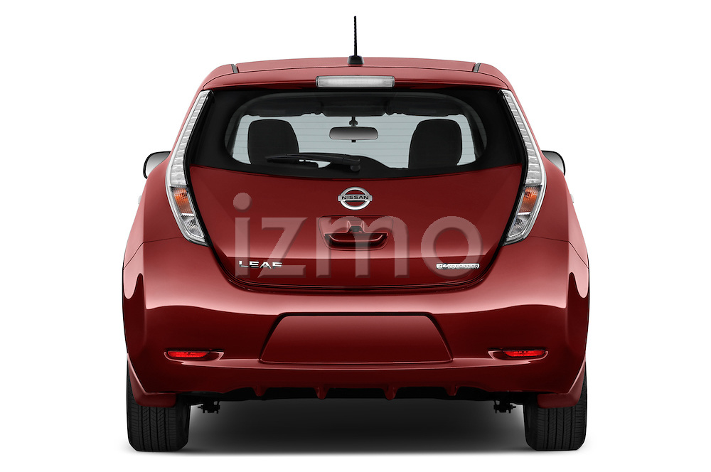 Straight rear view of 2017 Nissan LEAF S 5 Door Hatchback Rear View  stock images