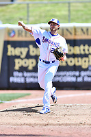 Tennessee Smokies pitcher Zach Hedges (27) warms up in the bullpen during a game against the Jackson Generals at Smokies Stadium on April 11, 2018 in Kodak, Tennessee. The Generals defeated the Smokies 6-4. (Tony Farlow/Four Seam Images)