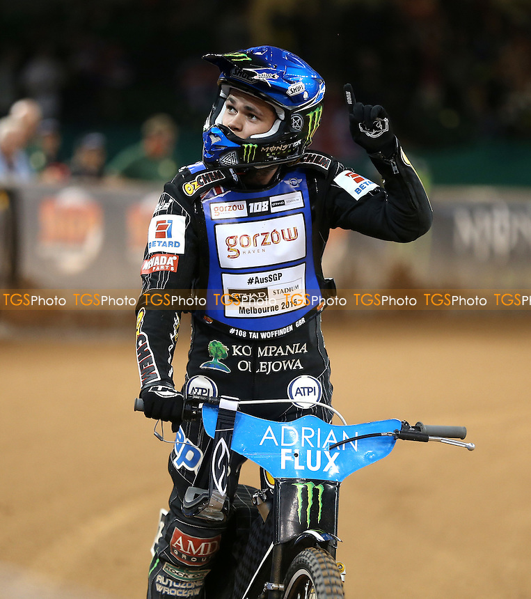 Tai Woffinden of Great Britain salutes the crowd after finishing fourth in the final - British Speedway Grand Prix at the Millennium Stadium, Cardiff - 04/07/15 - MANDATORY CREDIT: Rob Newell/TGSPHOTO - Self billing applies where appropriate - 0845 094 6026 - contact@tgsphoto.co.uk - NO UNPAID USE