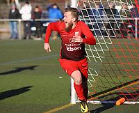Andreas Adamek (SV Unter-Flockenbach) jubelt über sein Tor zum 3:4 - 25.02.2018: SKV Büttelborn vs. SV Unter-Flockenbach, Gruppenliga Darmstadt