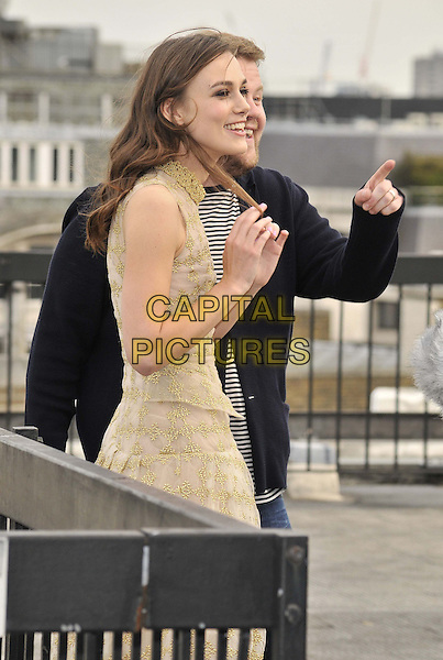 LONDON, ENGLAND - JULY 02: Keira Knightley &amp; James Corden attend the &quot;Begin Again&quot; press photocall on the rooftop of Picturehouse Cinemas Ltd., St Vincent House, Orange St., on Wednesday July 02, 2014 in London, England, UK.<br /> CAP/CAN<br /> &copy;Can Nguyen/Capital Pictures