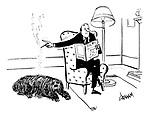(Man uses his dog for an ashtray)