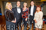 """MC Michael Lynch with the 4 judges Siobhan Murphy, Toiréasa Ferris, Aidan O'Mahoney,  and Carmel Russell at the Tralee Musical Society """"Strictly Come Dancing"""" Mr and Mrs in the Ballyroe Heights Hotel on Saturday."""