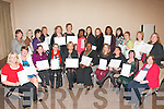 CERTIFICATES: Students from Kerry Education Services, Fels Point, Tralee who received their certificates in the Carlton hotel, Tralee last Friday night after completing a course on Health Care Support, FETAC level 5.