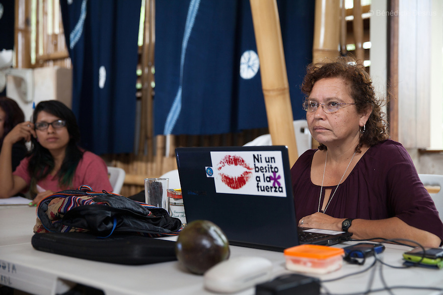 """Morena Herrera, a former Marxist guerrilla commander, now the Director of the San Salvador Feminist Collective and pro-abortion activist, during a meeting with women at """"La Casa de la Mujer"""" in Suchitoto, El Salvador on June 8, 2015. Abortion in El Salvadorisillegal. The law formerly permitted an abortion to be performed under some limited circumstances, but, in 1998, all exceptions were removed when a newabortion law went into effect. Photo by Bénédicte Desrus"""
