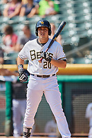 Ramon Flores (20) of the Salt Lake Bees bats against the Fresno Grizzlies at Smith's Ballpark on September 4, 2017 in Salt Lake City, Utah. Fresno defeated Salt Lake 9-7. (Stephen Smith/Four Seam Images)