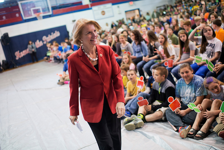 UNITED STATES - APRIL 15: Rep. Shelley Moore Capito, R-W.Va., who is running for the Senate in West Virginia, attends an internet safety event sponsored by Google at Robert Bland Middle School in Weston, W.Va., April 15, 2014. (Photo By Tom Williams/CQ Roll Call)
