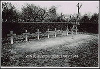BNPS.co.uk (01202 558833)<br /> Pic: JoePinguey/BNPS.<br /> <br /> The crew buried in Winterswijk cemetery in 1944.<br /> <br /> The tragic tale of downed RAF Lancaster bomb aimer and the heartwarming friendship which developed between the farmer who found his body and his grieving family can be told after his medals emerged for sale.<br /> <br /> Flying Officer Leslie Pulfrey, of 103 Sqn RAF Bomber Command was killed when his Lancaster was shot down by a Luftwaffe fighter over the Netherlands on the way back from a raid on a German oil refinery.<br /> <br /> His body was found on 16th June 1944 by a Dutch farmer Gerrit Van Eerden wrapped in an unopened parachute and with bullet wounds to his neck.<br /> <br /> Only one of the crew survived the crash and Pulfrey was laid to rest with five of his comrades in the local cemetery.<br /> <br /> Fly Off Pulfrey's nephew Joe Pinguey, 67, a retired motor mechanic from Penistone, south Yorkshire, is putting his medals on the market with Sheffield Auction Gallery for &pound;1,200.