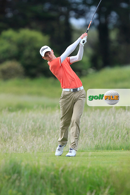 Rowan Lester (Hermitage) on the 2nd tee during Round 2 of the East of Ireland in the Co. Louth Golf Club at Baltray on Sunday 1st June 2014.<br /> Picture:  Thos Caffrey / www.golffile.ie