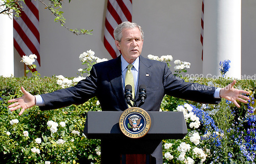 Washington, D.C. - July 2, 2008 -- United States President George W. Bush makes a statement on the upcoming 2008 G8 Summit in the Rose Garden of the White House on Wednesday, July 2, 2008.  In his remarks, the President said more U.S. troops may be needed for Afghanistan and urged Americans to pressure their congressman to lift the ban on off shore oil drilling..Credit: Ron Sachs / CNP