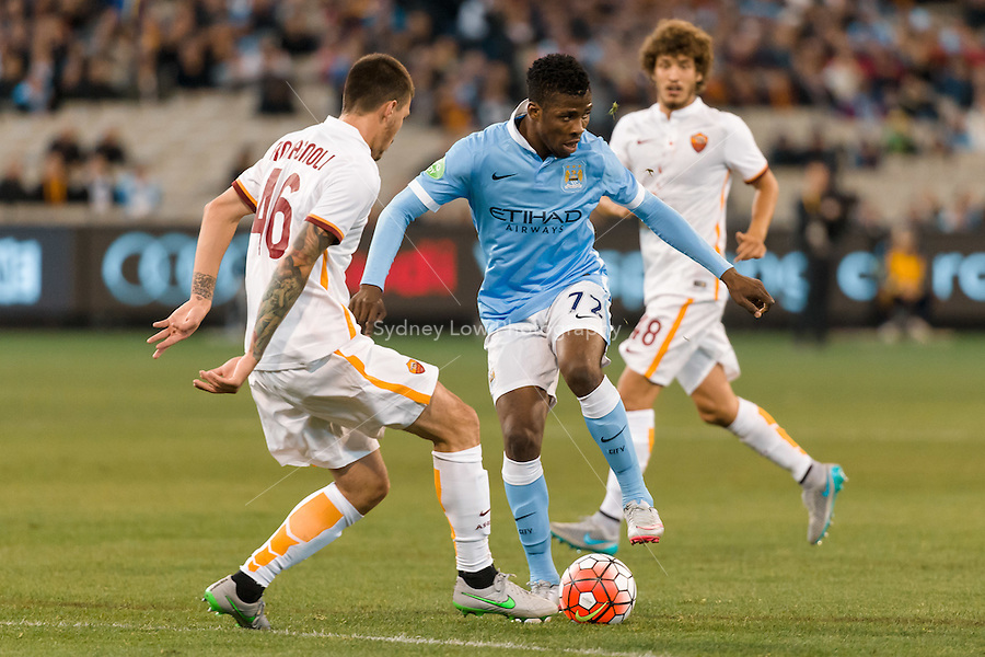 Melbourne, 21 July 2015 - Kelechi Iheanacho of Manchester City controls the ball in game two of the International Champions Cup match at the Melbourne Cricket Ground, Australia. City def Roma 5-4 in Penalties. (Photo Sydney Low / AsteriskImages.com)