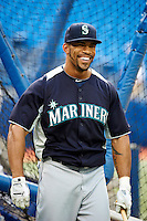 Seattle Mariners outfielder Eric Thames #10 during batting practice before an American League game against the Toronto Blue Jays at the Rogers Centre on September 13, 2012 in Toronto, Ontario.  (Mike Janes/Four Seam Images)