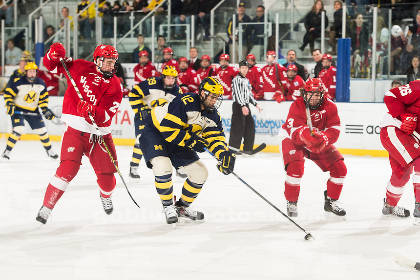 The University of Michigan ice hockey team defeats Wisconsin, 5-2, at Yost Ice Arena in Ann Arbor, Mich. on February, 28, 2015.