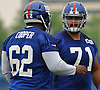 Will Hernandez #71, right, chats with Ethan Cooper #62 during the second day of New York Giants Rookie Minicamp held at Quest Diagnostics Training Center in East Rutherford, NJ on Saturday, May 12, 2018.