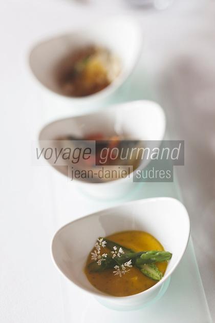 Europe/France/Bretagne/56/Morbihan/ Golfe du Morbihan/env de Vannes/St-Avé: Amuse bouche: Royale d'asperges vertes,mousseline de carottes à l'huile de noisette et coriandre recette  de Bernard Rambaud   du restaurant: Le Pressoir