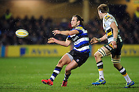 Max Clark of Bath Rugby passes the ball. Aviva Premiership match, between Bath Rugby and Northampton Saints on February 10, 2017 at the Recreation Ground in Bath, England. Photo by: Patrick Khachfe / Onside Images