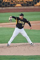 Salt Lake Bees starting pitcher Jose Suarez (18) delivers a pitch to the plate against the Nashville Sounds at Smith's Ballpark on July 28, 2018 in Salt Lake City, Utah. The Bees defeated the Sounds 11-6. (Stephen Smith/Four Seam Images)