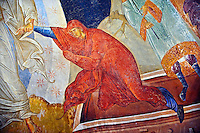 The 11th century Roman Byzantine Church of the Holy Saviour in Chora and its Anastasis fresco of the parecclesion chapel. Christ is depicted saving  Eve by reurecting them from their sarcophagi. Endowed between 1315-1321 by the powerful Byzantine statesman and humanist  Theodore Metochites. Kariye Museum  Istanbul