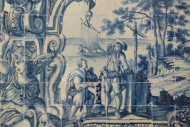 Man arriving, traditional blue and white azulejos tile scene, 18th century, part of a series depicting the history of the monastery and the Siege of Lisbon in 1147, in the Monastery of Sao Vicente de Fora, an Augustinian order monastery and church built in the 17th century in Mannerist style, Lisbon, Portugal. The monastery also contains the royal pantheon of the Braganza monarchs of Portugal. Picture by Manuel Cohen