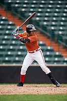 Enmanuel Estrella (12) at bat during the Dominican Prospect League Elite Underclass International Series, powered by Baseball Factory, on July 21, 2018 at Schaumburg Boomers Stadium in Schaumburg, Illinois.  (Mike Janes/Four Seam Images)