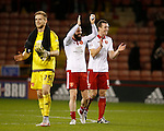 Neill Collins of Sheffield Utd and John Brayford of Sheffield Utd applaud the fans - FA Cup Second round - Sheffield Utd vs Oldham Athletic - Bramall Lane Stadium - Sheffield - England - 5th December 2015 - Picture Simon Bellis/Sportimage