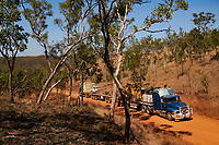 Truck drivers Nick and Joanna Atkins' road train crawls up one of the steepest 'jump ups' on their journey north along the Gibb River-Kalumburu Road. Through some of the rougest sections, the truck is reduced to walking speed.