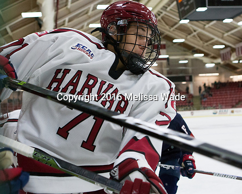 Frédéric Grégoire (Harvard - 71) - The Harvard University Crimson defeated the US National Team Development Program's Under-18 team 5-2 on Saturday, October 8, 2016, at the Bright-Landry Hockey Center in Boston, Massachusetts.