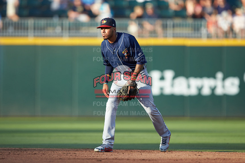 Toledo Mud Hens shortstop Harold Castro (7) on defense against the Charlotte Knights at BB&T BallPark on June 22, 2018 in Charlotte, North Carolina. The Mud Hens defeated the Knights 4-0.  (Brian Westerholt/Four Seam Images)